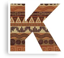 Letter K Leather Look Pattern Tribal Ethnic Monogram Initial Canvas Print