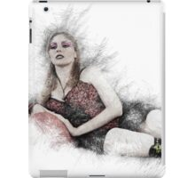 arrogant model in red corset reclining on a black leather couch  iPad Case/Skin