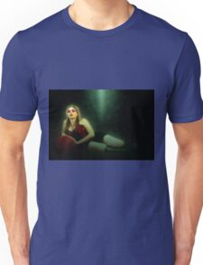 arrogant model in red corset reclining on a black leather couch  Unisex T-Shirt