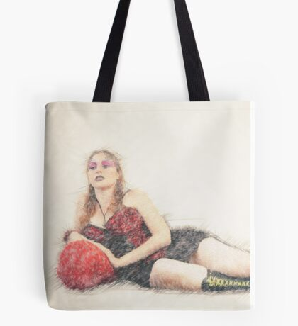 arrogant model in red corset reclining on a black leather couch  Tote Bag