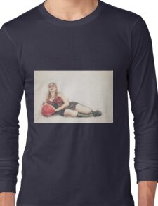 arrogant model in red corset reclining on a black leather couch  Long Sleeve T-Shirt