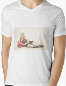 arrogant model in red corset reclining on a black leather couch  Mens V-Neck T-Shirt