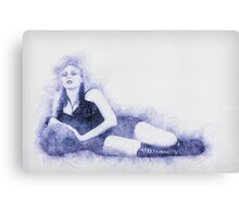 arrogant model in red corset reclining on a black leather couch  Canvas Print