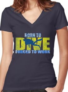 funny diving shark divers Women's Fitted V-Neck T-Shirt