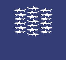 School of Sharks Blue and White Unisex T-Shirt
