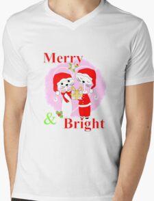 Cute Cartoon Christmas Theme Cat Lovers Merry And Bright  Mens V-Neck T-Shirt