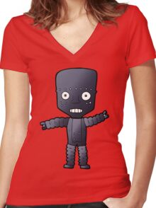 Robot says Cheese  Women's Fitted V-Neck T-Shirt