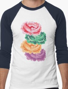 CHEVRON ROSES Men's Baseball ¾ T-Shirt
