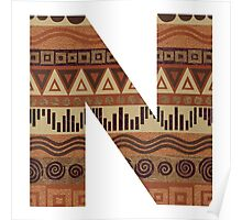 Letter N Leather Look Pattern Tribal Ethnic Monogram Initial Poster