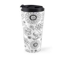 Pattern with Doodle Flowers and Leaves Travel Mug