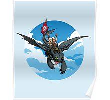 Toothless Targaryen Blue Poster