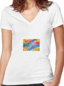 The Coral-Abstract Women's Fitted V-Neck T-Shirt