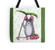 Cute Mouse with Umbrella Leaf and Pink Flower Tote Bag
