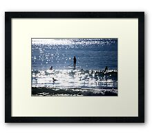 Waiting For A Wave Stand Up Pdlleboarder Framed Print