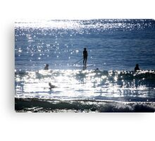 Waiting For A Wave Stand Up Pdlleboarder Canvas Print