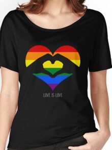Love Is Love LGBT Rainbow Heart  Women's Relaxed Fit T-Shirt