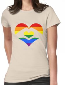 Love Is Love LGBT Rainbow Heart  Womens Fitted T-Shirt