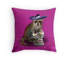 Day Of The Dead Raccoon Throw Pillow