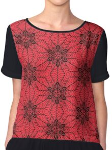 Red and Black geometric Abstract Pattern Chiffon Top