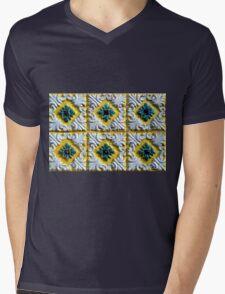 Portuguese azulejos: Raised white swirls and green flowers  Mens V-Neck T-Shirt