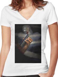 Spanish guitarist Women's Fitted V-Neck T-Shirt
