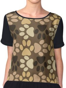 Paw Print Pattern in Browns Chiffon Top