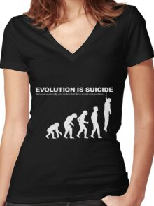 Evolution Is Suicide Funny Women's Fitted V-Neck T-Shirt
