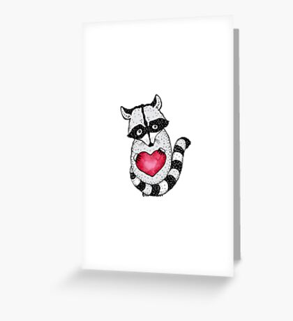 Raccoon carrying a heart.  Greeting Card
