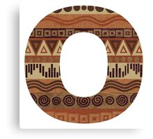 Letter O Leather Look Pattern Tribal Ethnic Monogram Initial Canvas Print