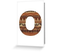Letter O Leather Look Pattern Tribal Ethnic Monogram Initial Greeting Card