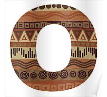 Letter O Leather Look Pattern Tribal Ethnic Monogram Initial Poster