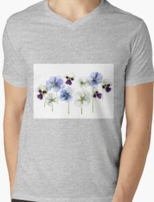 backlit pansy petals on a lightbox  Mens V-Neck T-Shirt