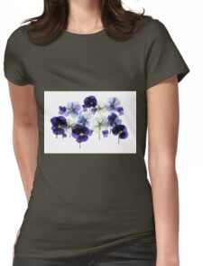 backlit pansy petals on a lightbox  Womens Fitted T-Shirt