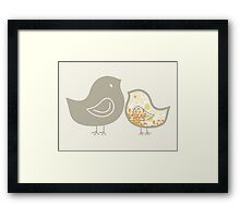Sweet Yellow Damask Mommy and Baby Chicks Framed Print