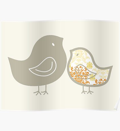 Sweet Yellow Damask Mommy and Baby Chicks Poster