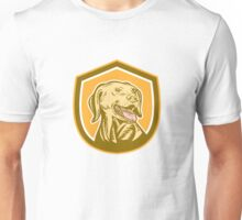 Labrador Dog Head Shield Woodcut Unisex T-Shirt