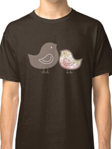 Sweet Pink Damask Mommy and Baby Chicks Classic T-Shirt