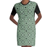 Decorative Arabesque Green and Black Graphic T-Shirt Dress
