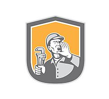 Plumber Shouting Holding Wrench Shield Retro Photographic Print