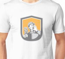Plumber Shouting Holding Wrench Shield Retro Unisex T-Shirt