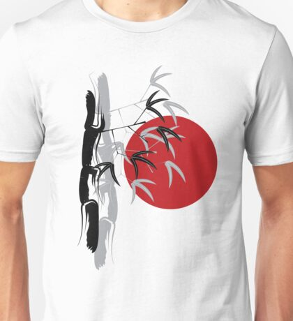 Oriental Red Sunrise Bamboo Zen Unisex T-Shirt