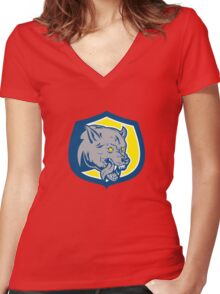 Angry Wolf Wild Dog Head Shield Retro Women's Fitted V-Neck T-Shirt