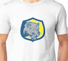 Angry Wolf Wild Dog Head Shield Retro Unisex T-Shirt
