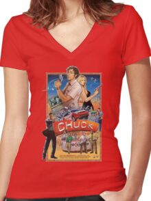 Funny Chuck TV Poster Women's Fitted V-Neck T-Shirt