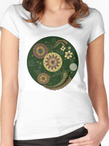 Zentangle style with flowers. Women's Fitted Scoop T-Shirt