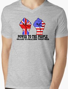 POWER TO THE PEOPLE - SMASH GLOBALISM TOGETHER Mens V-Neck T-Shirt