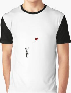 Girl with Heart Balloon Banksy Graphic T-Shirt