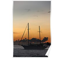 Indian Ocean sunset with yacht Poster