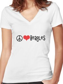 Peace, Love and Beagles Women's Fitted V-Neck T-Shirt