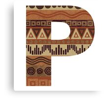 Letter P Leather Look Pattern Tribal Ethnic Monogram Initial Canvas Print